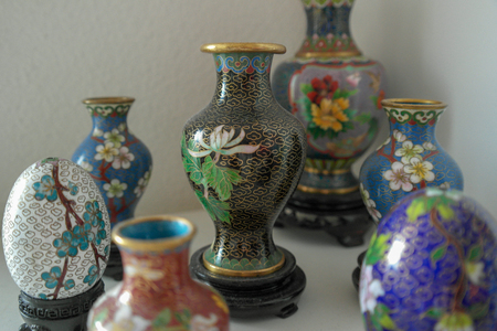 Collection of Chinese cloisonn? vases and eggs