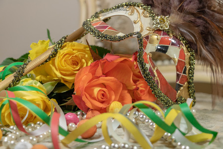 Domino hand's mask with the flowers of the flowered corso and party favors and serpentine carnival Imagens