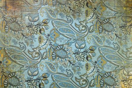 Fondo de patrón de cachemira verde azul Foto de archivo