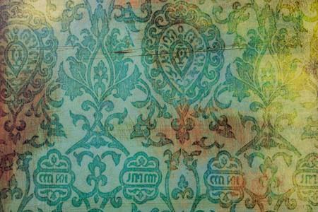 Ressources graphiques, vieux papier vert émeraude avec motif damassé