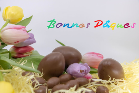 Border with text Happy Easter, a very colorful graphic resource (Happy Easter is Happy Easter written in French) Stok Fotoğraf
