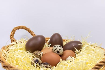 Easter eggs in the farm parnier eggs