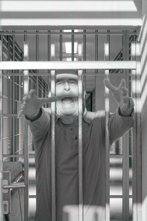 Psychiatric illness, psychopath, asylum, hospital psychiatrist, crazy man shouting through the bars