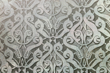 Gray and white graphic resource, repetitive arabesque steampunk art deco pattern