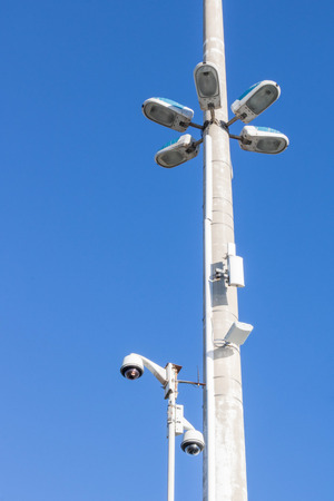 City security, surveillance camera and street lighting