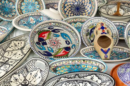 Decorative ceramic tableware, Mediterranean crafts Stock Photo
