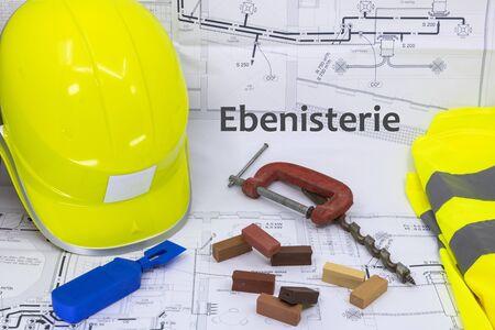 Menuiserie et ébéniste Ressource graphique avec matériel de plan de maison et matériel de menuiserie (l'ébénisterie est la menuiserie écrite en français)