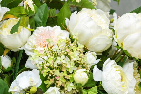 white and pink flowers, elegant feminine bouquet of roses and flowers