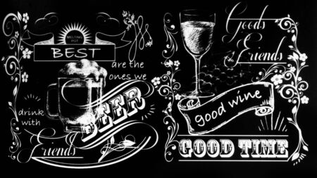 Old school style signboard for wine bar, cafe, bar, chalk restaurant on chalkboard beer and wine text with hand drawing 写真素材