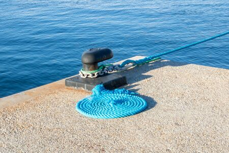 Mooring bollard for large yacht in Port Gallice in Juan les Pins French Riviera Provence France