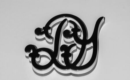 letters D and Y in raised steel monogram isolated on a white background