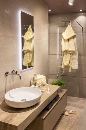 Scandinavian modern bathroom in neutral tones with Italian shower and large rounded washbasin on a wooden cabinet
