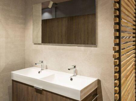 Modern bathroom Scandinavian style bathroom with double basin Фото со стока - 131845118