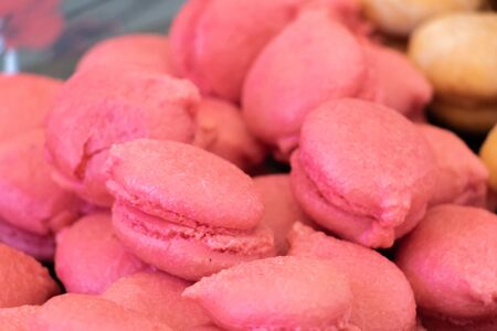 Closeup on macaroons with raspberries and hazelnut handcrafted Provence delicious cakes from the south of France for gourmet coffee Stock fotó