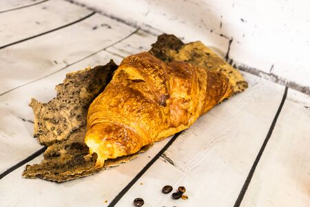 Artisan butter croissant on a white background 写真素材