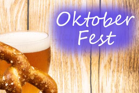 Oktober Fest - glass of beer and pretzel - Munich, Germany - glass of beer and pretzel Stok Fotoğraf
