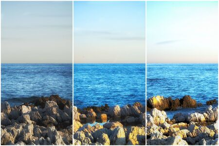 Triptych of a seascape at different times 写真素材