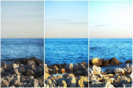 Triptychon einer Meereslandschaft zu verschiedenen Zeiten