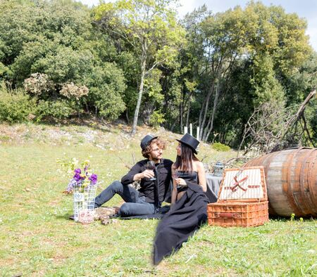 Vintage and steampunk harvest festival, picnic with friends in the country