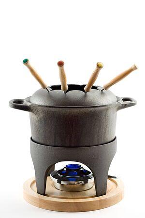 cast iron fondue set,isolated on white