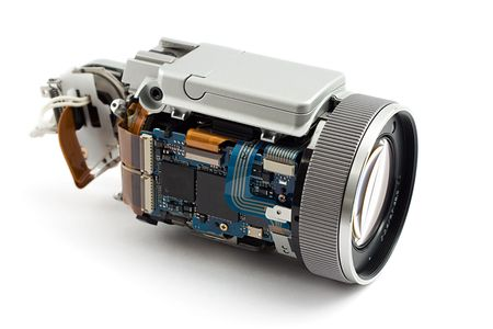 disassembled: disassembled photo camera, shot on whitre