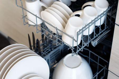inside of dishwasher, close-up, slightly blue toned Reklamní fotografie
