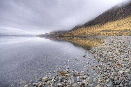 wather: fjord in iceland, stormy wather, wide angle