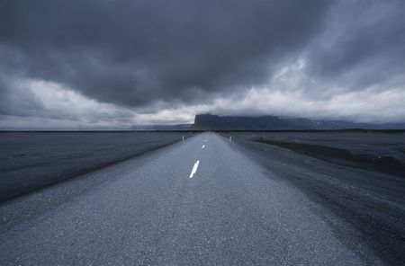 wide angle: road in iceland, stormy, wide angle Stock Photo