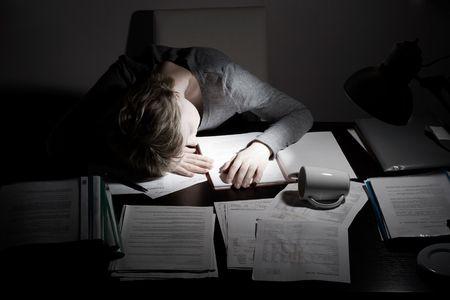 asleep working overhours, concept, low key