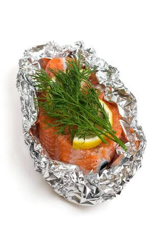 raw salmon ready for cookig, isolated photo