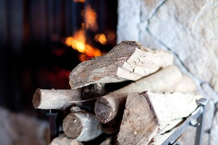 firewood near fireplace in the modern style photo