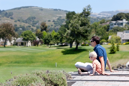 carmel: father and son enjoying the view of carmel valley