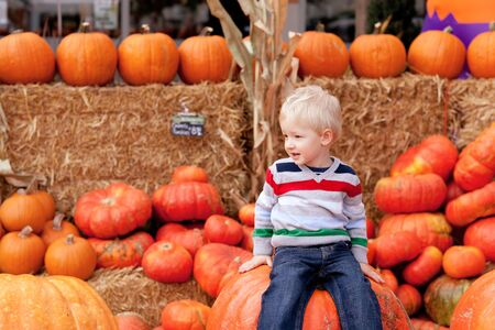 playful caucasian toddler sitting on the huge pumpkin photo