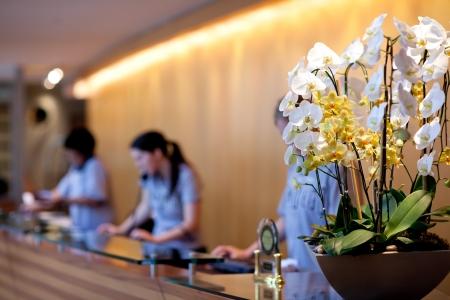 receptie van het hotel Stockfoto