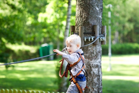 serious little boy climbing at a canopy tour photo