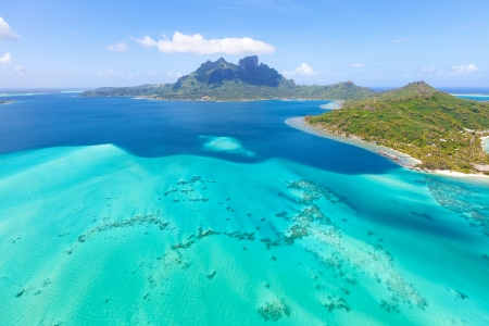 view from helicopter at mount otemanu at bora bora island, french polynesia photo