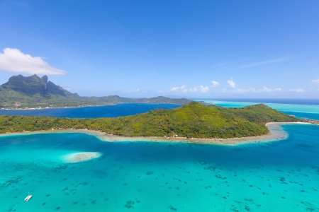 view from helicopter at mount otemanu at bora bora island, french polynesia Stock Photo