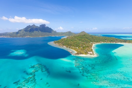 tahiti: gorgeous view at bora bora island from the helicopter