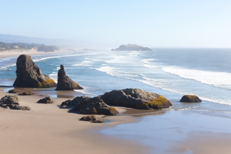beautiful rock formations at the beach in bandon, oregon Stock Photo