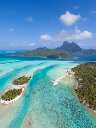 polynesia: view from helicopter at beautiful island of bora bora, french polynesia