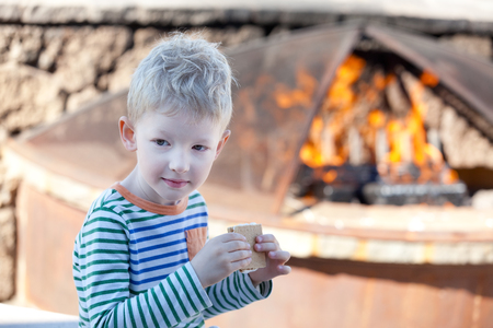 positive adorable kid eating smores by the fire photo