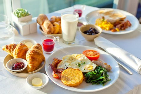 balanced diet: delicious breakfast for two at the luxury hotel