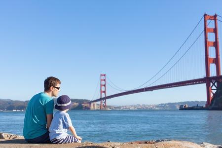 san francisco: family enjoying golden gate bridge in san francisco