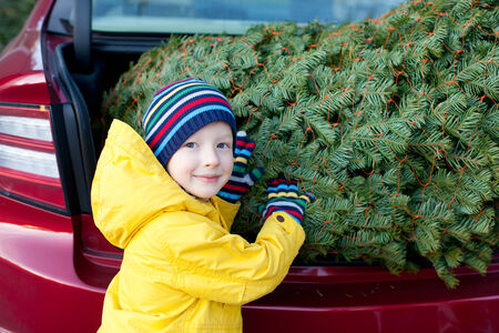 cute little boy shopping for christmas tree at winter photo