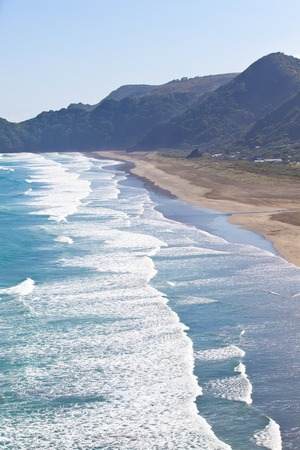new zealand beach: view from lion rock at the piha beach in new zealand Stock Photo