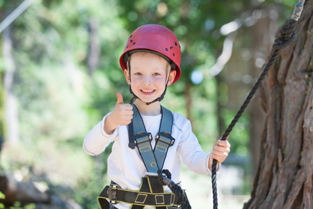 excited little boy enjoying climbing at adventure park photo