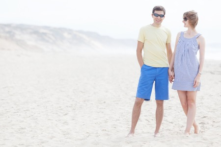 loving couple at the beach together photo