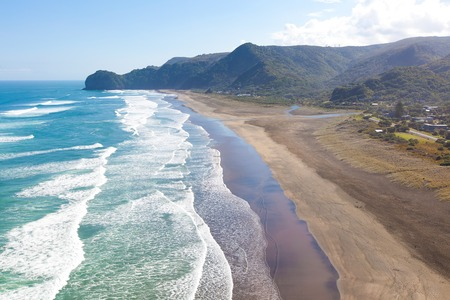 aerial view at piha beach from lion rock at north island in new zealand