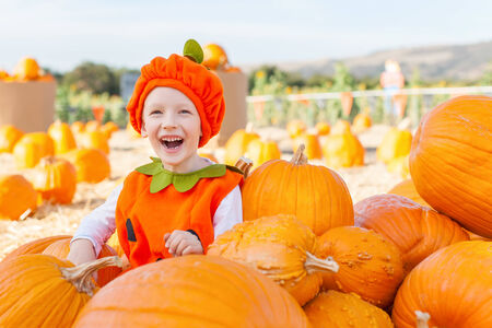cheerful smiling boy in the pumpkin costume at pumpkin patch, autumn fun photo