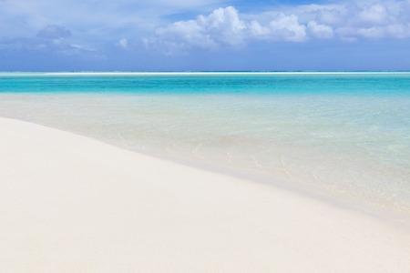 motu: perfect tropical beach, turquoise lagoon and sand bar at aitutaki island, cook islands